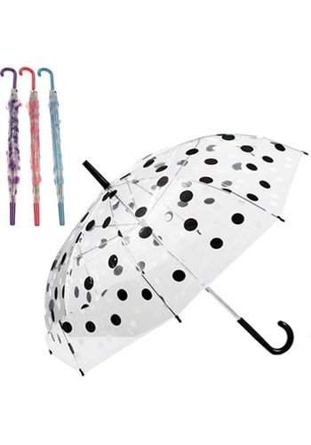 Neckermann Transparante Paraplu met polka dots 74cm in diverse kleuren