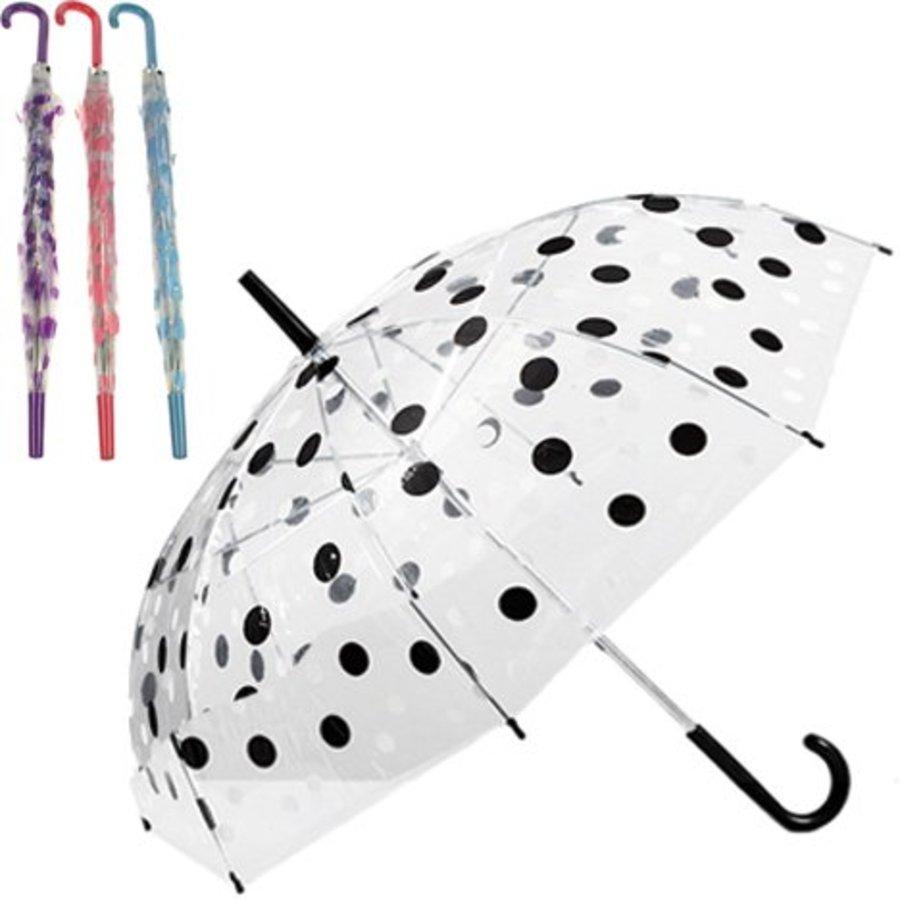 Transparante Paraplu met stippen - 74cm - assorti