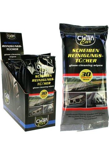 Clean Lingettes nettoyantes vitres - voiture - 30 pièces - 18x16cm