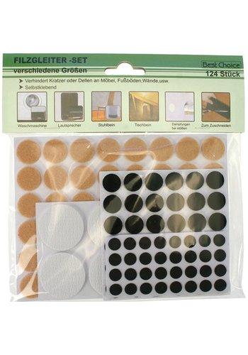Best Choice Antislip Aufkleber 124 Stück Sortiment in verschiedenen Größen und 3 Farben 1-4cm