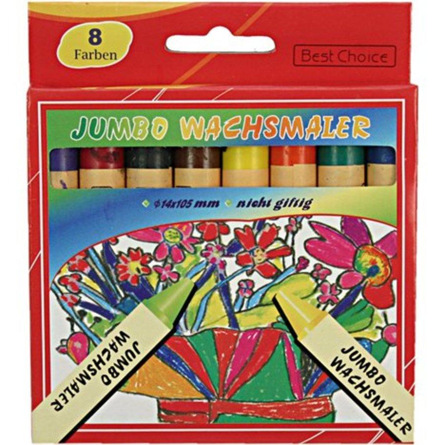 Wachskreide 8 Farben Jumbo 13x110mm für die Schule oder zu Hause