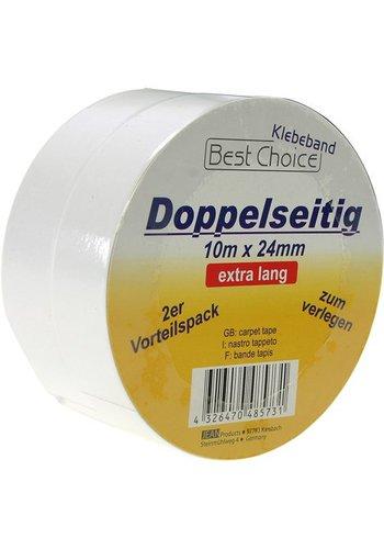 Best Choice Doppelseitiges Klebeband - 10m x 24mm - 2 Stück