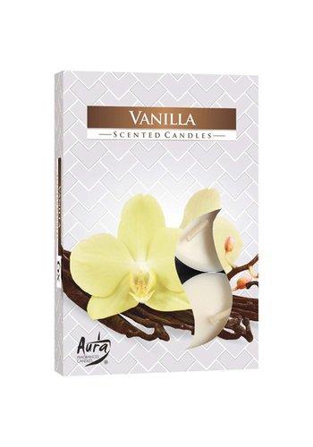 Aura Bougies chauffe-plat avec parfum Vanille - 6 pièces - emballage de luxe