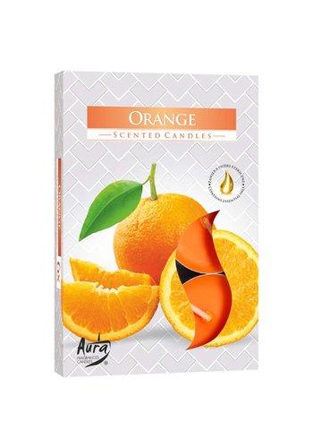 Aura Theelichtjes met geur Sinaasappel - 6 stuks - luxe verpakking