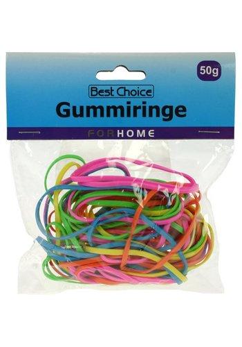 Best Choice Gummibänder 50g Trendfarben sortiert 3 mm breit
