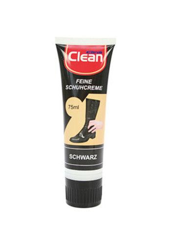Clean Schoenpoets 75 ml zwart in tube met doseerspons