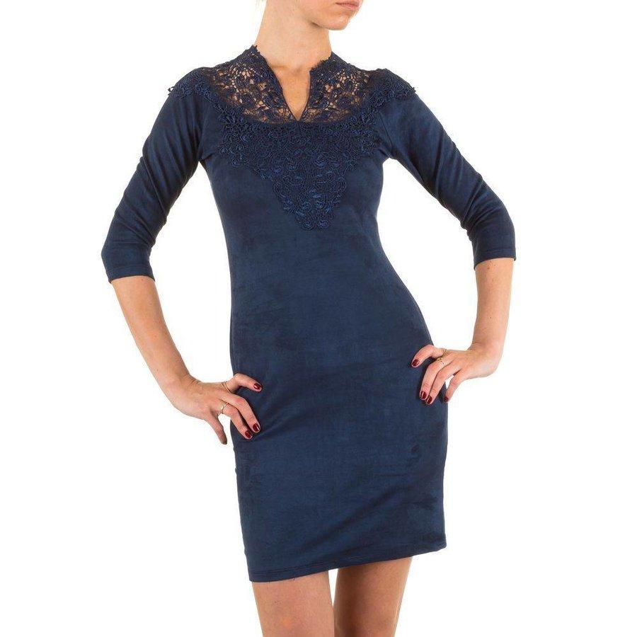 Damen Kleid mit Spitze - DK.blau