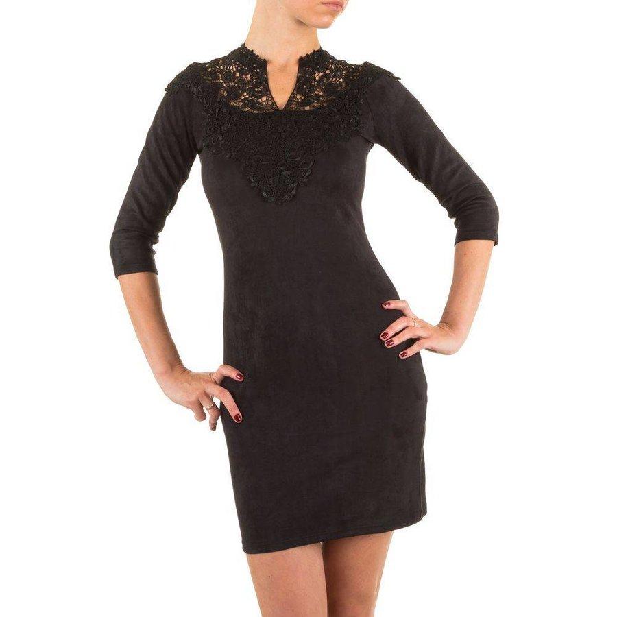 Damen Kleid mit Spitze - schwarz