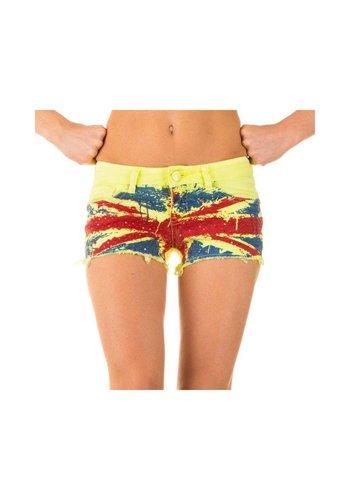 Neckermann Dames Shorts met Engelse vlag - geel