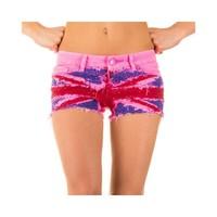 Damen Shorts mit englischer Flagge - leuchtend rosa