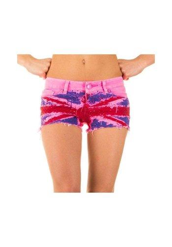 Neckermann Damen Shorts mit englischer Flagge - leuchtend rosa