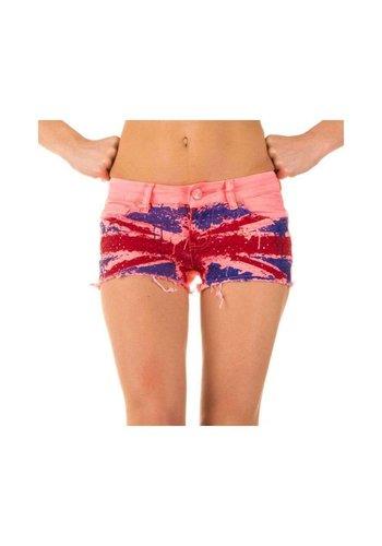 Neckermann Damen Shorts mit englischer Flagge - pink