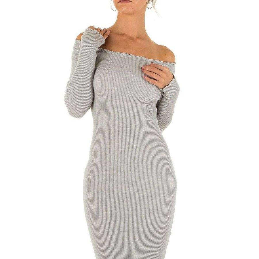 Lange Damen Kleid Gr. eine Größe - grau