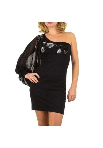 USCO Damen Kleid mit Single-Ärmel - schwarz