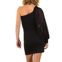 Damen Kleid mit Single-Ärmel - schwarz