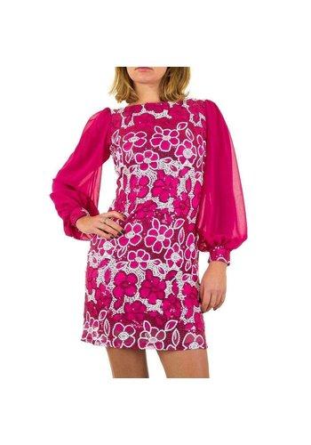 USCO Geblümte Damen Kleid mit langen Ärmeln - Fuchsia