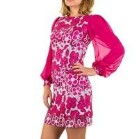 Geblümte Damen Kleid mit langen Ärmeln - Fuchsia
