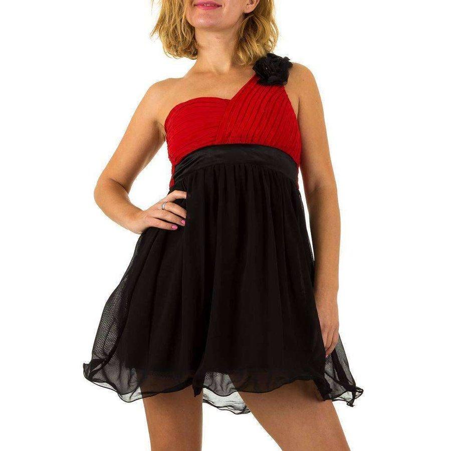 Damen Kleid mit Schulterblüte - rot / schwarz