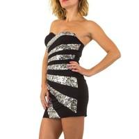 Trägerloses Abendkleid mit silbernen Locken - schwarz