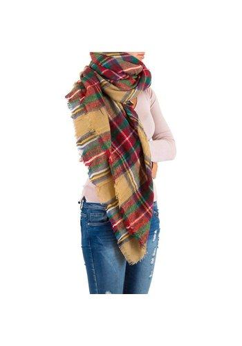 Best Fashion Dames Sjaal Gr. een maat - camel/rood