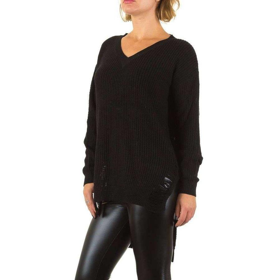 Damen Sweater mit langem Rücken Gr. eine Größe - schwarz