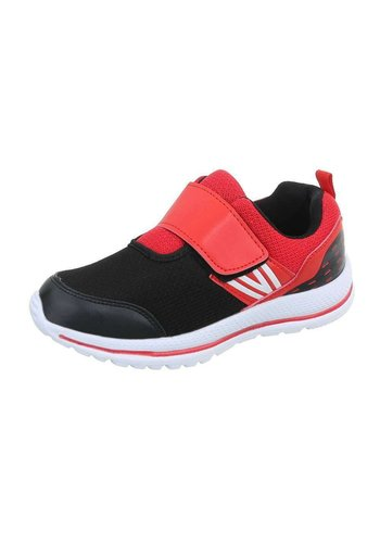Neckermann Kinder Sneakers met klitteband - blackred