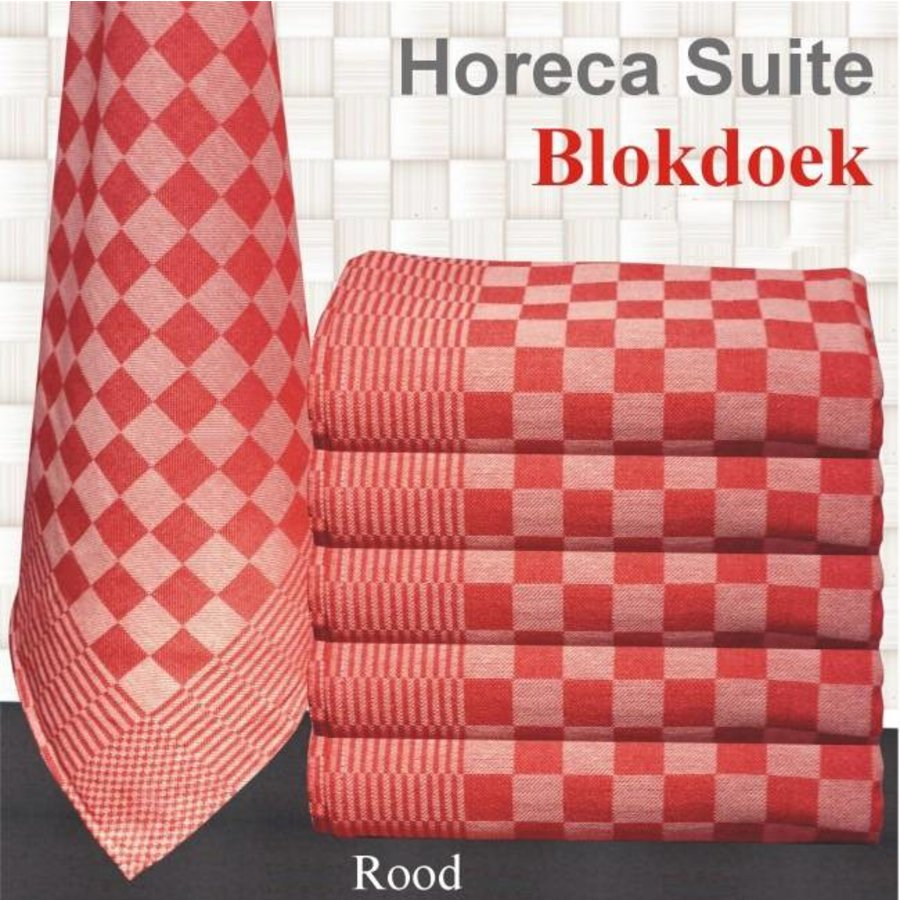 Theedoek Pompdoek Blokdoek Chess Rood 70x70 cm (10 stuks)