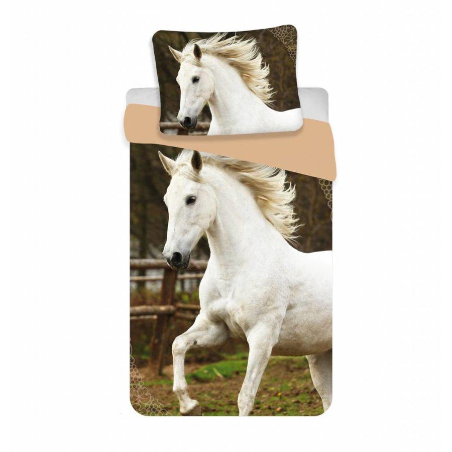 Dekbedovertrek Animal Pictures Wit Paard 140 x 200