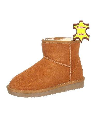 NO NAME Leren dames boots - camel