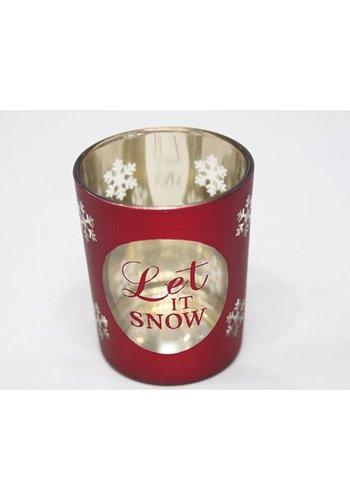 Neckermann Teelichtglas 7x5,5x5,5cm mit Sternen verziert