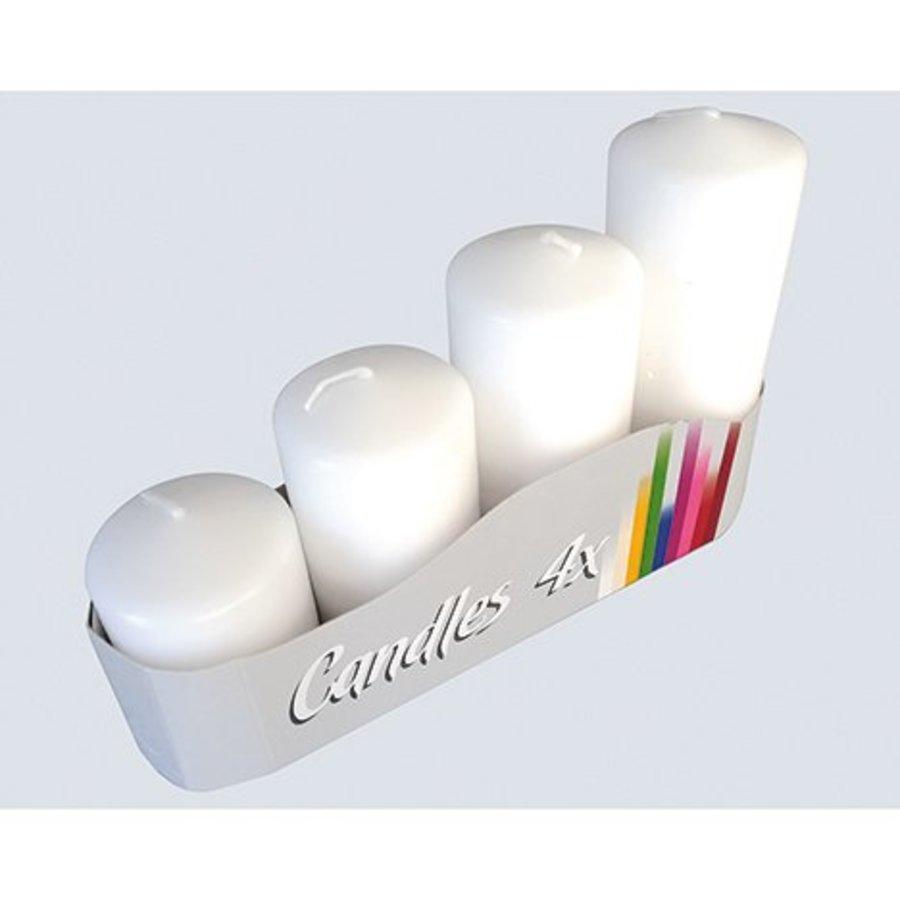 Stumpenkerzen 4er Set, 4 Größen weiß