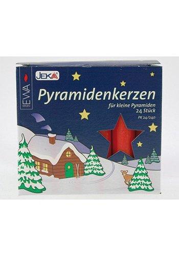 Jeka Pyramidenkerzen 24er rot 14x74mm,dekor. Farbverp.