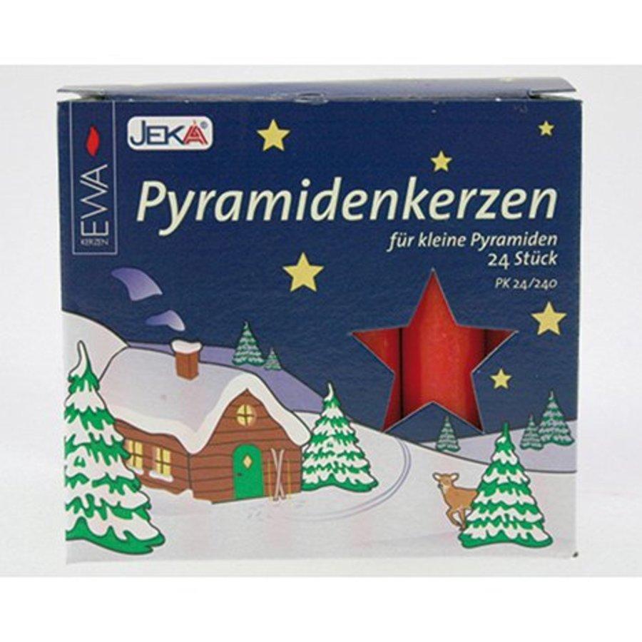Pyramidenkerzen 24er rot 14x74mm,dekor. Farbverp.