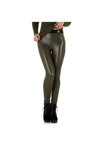 Neckermann Dames lederlook Legging  Daysie - olijfgroen