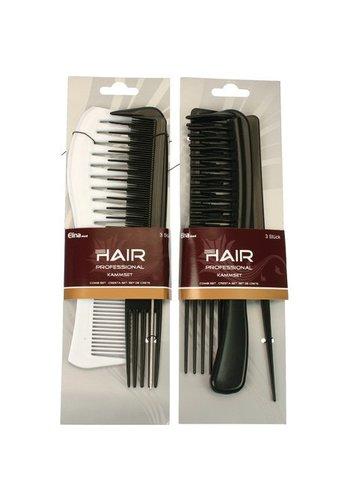 Elina Combset 3 stuks Hairstudio 2 soort asortimentn op een  Kaart 20 cm