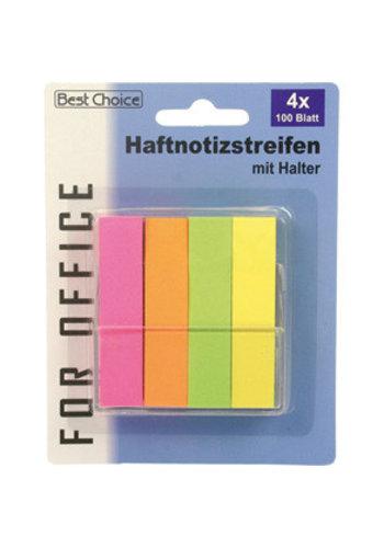 Best Choice Sticky notes 6cm 4x100 vel neon kleuren met houder