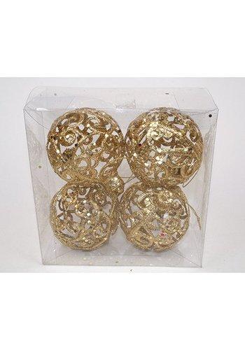Neckermann Kerstballen - 4 stuks - plastic - 8cm