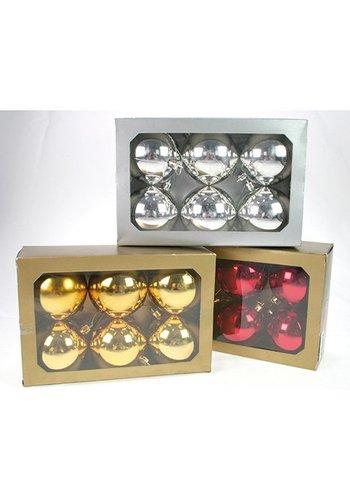 Neckermann Boules de Noël - 6 pièces - brillantes - 7cm