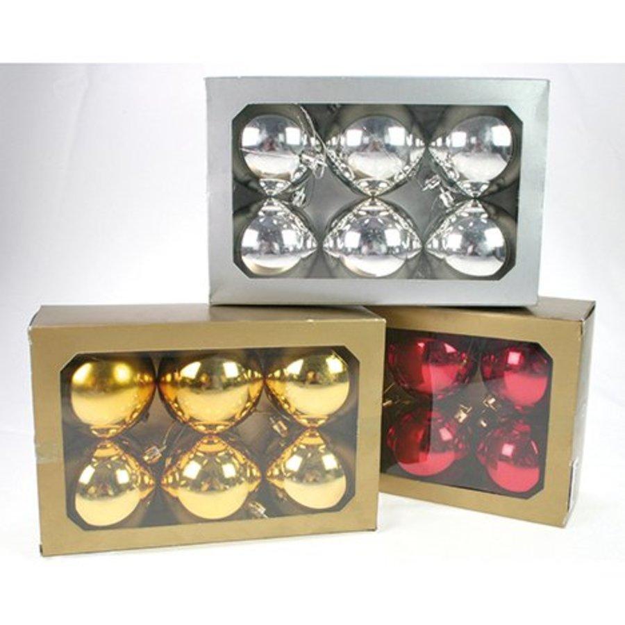 Kerstballen - 6 stuks - glanzend - 7cm