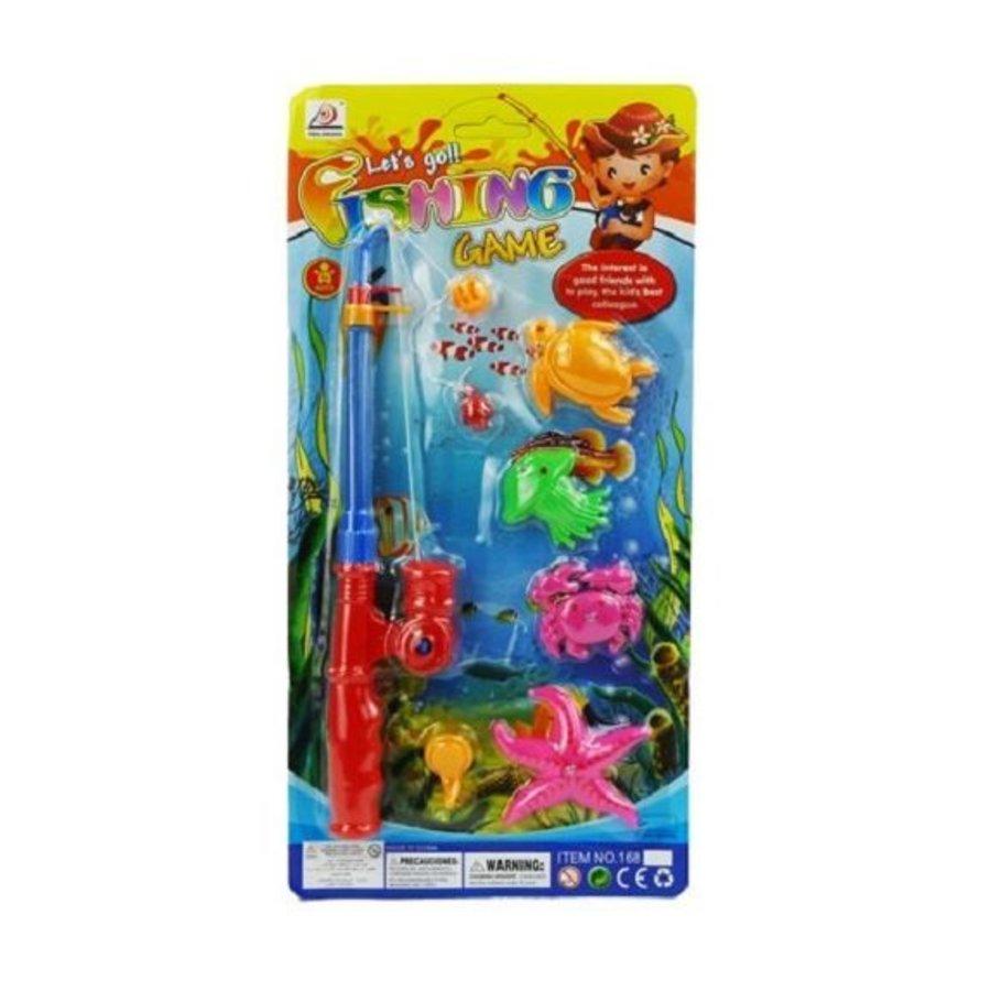 Visspel met werphengel van plastic