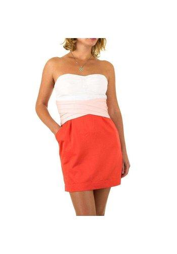 Neckermann Dames jurk van Usco - rood-wit  strapless