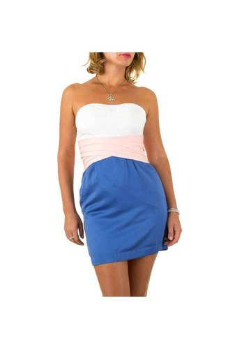 USCO Dames jurk van Usco - blauw-wit- strapless