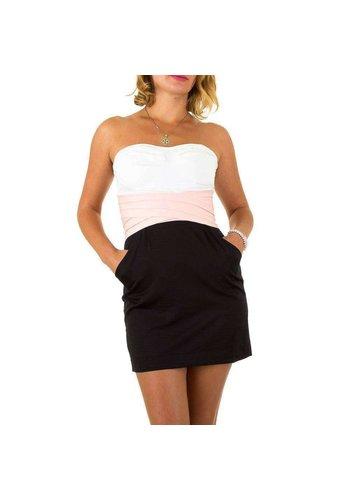 USCO Dames jurk van Usco - Zwart- wit-strapless