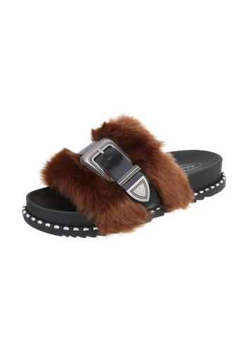 Neckermann Dames platte sandalen - bruin