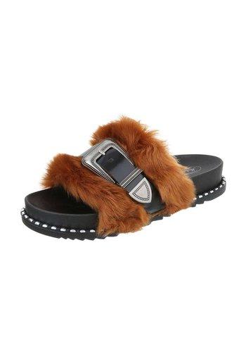 Neckermann Dames platte sandalen - Camel