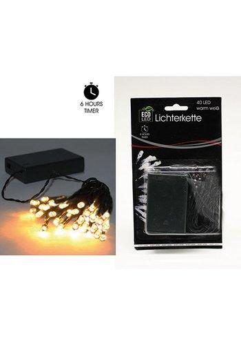 Eco Led Lichtketting , 40 LED Lampjes , warm wit, Ook voor Buiten (IP 44)