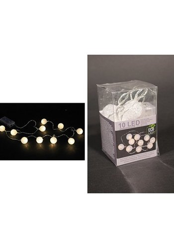 Eco Led Lichtketting LED Ball, 10 LED Lampjes, Vinyl warm wit,