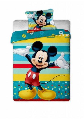 Disney Enveloppe de couette sous licence Mickey Mouse Stripes 140 x 200