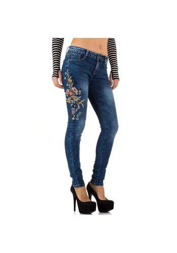 Mozzaar Dames Jeans van Mozzaar - blauw met bloemmotief