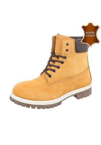 Neckermann Dames  Lederen hoge schoen met veter  -  geel